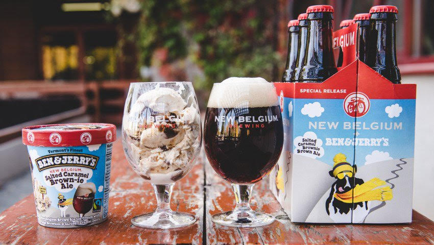 Food and beverage marketing collaboration between New Belgium and Ben and Jerry's