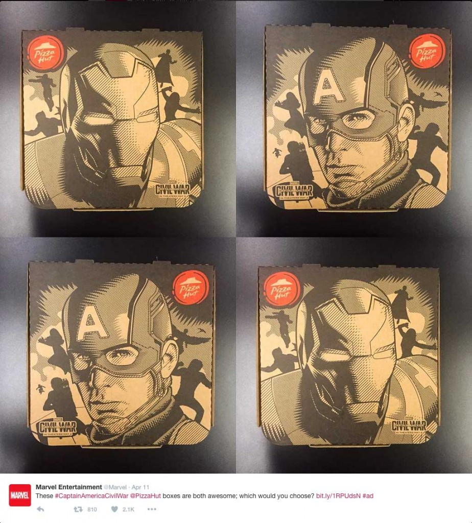 Examples of the Pizza Hut boxes, a brand partnership for Marvel's new movie